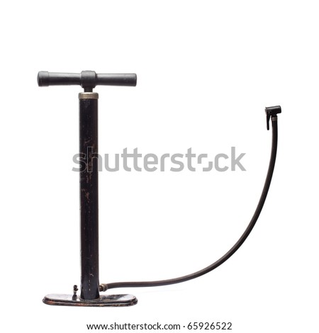 Old rusty bicycle floor pump. Isolated over white background.