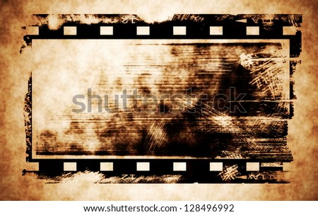 Old rusty blank film strip