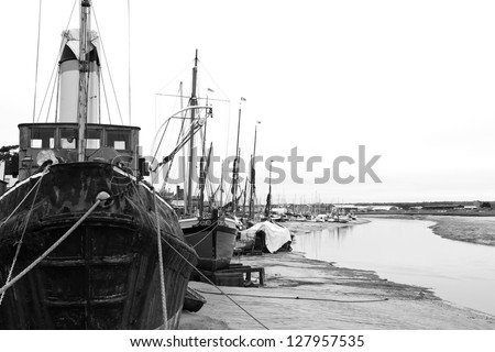 old rusty boats moored up