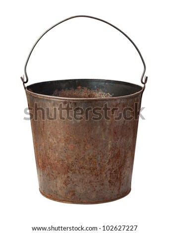 Old Rusty Bucket isolated on white with a clipping path