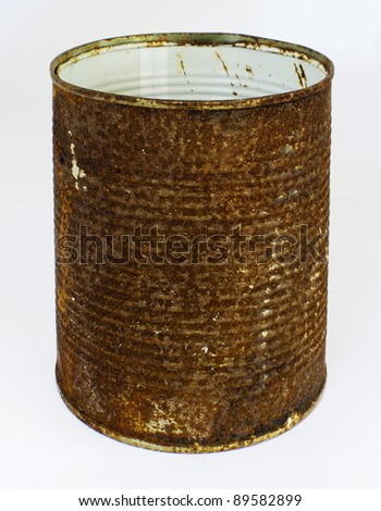 Old rusty can isolated