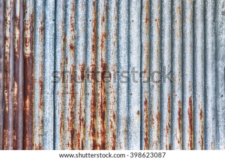 old rusty galvanized, corrugated iron siding vintage texture background