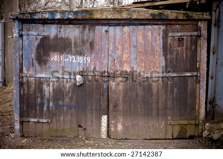 Old rusty garage door
