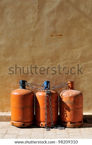 Old rusty Gas bottles