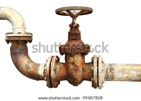 old rusty industrial tap water pipe and valve