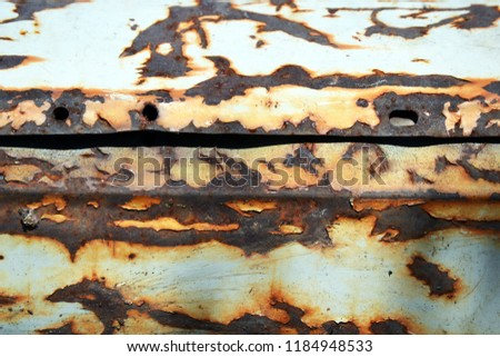 Old rusty iron. Rusty wall background or texture. White wall with rust. Erosion, corrosion