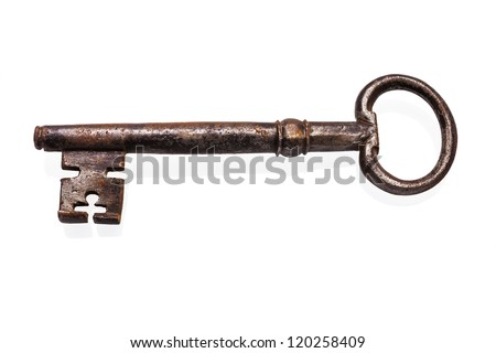 old rusty key isolated on white - stock photo