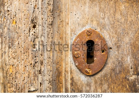 old rusty keyhole on the shabby ...
