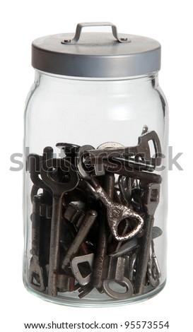 old rusty keys in glass bowl