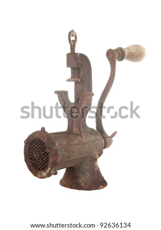old rusty meat grinder