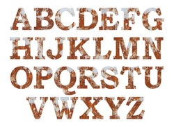 Old rusty metal alphabet set, isolated over the white background