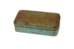 old rusty metal box isolated on white background. this had clipping path