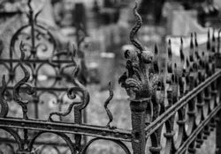 Old rusty metal fence, bokeh, green  gothic background.  cemetery, fear. Vilnius, Lithuania