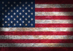 Old rusty metal sign with a flag - United States of America