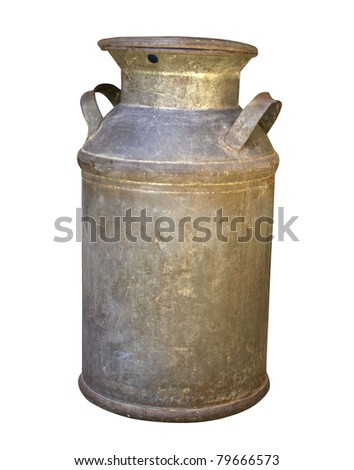 Old Rusty Milk Can with Clipping Path