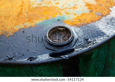 Old rusty oil barrel detail