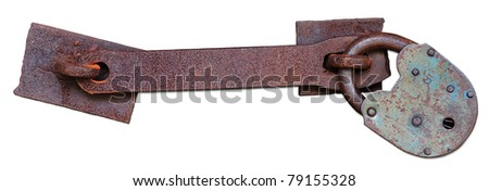Old rusty padlock with latch isolated. Clipping path included.