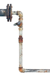 Old rusty pipes, aged weathered isolated grunge rustic iron pipeline and plumbing connection joints with industrial tap fittings, faucets and valve