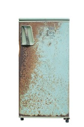 Old rusty refrigerator isolated with clipping path