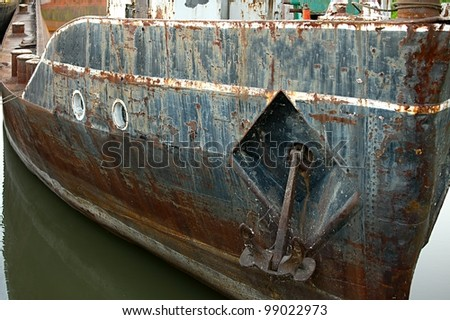 Old, rusty shipwreck detail