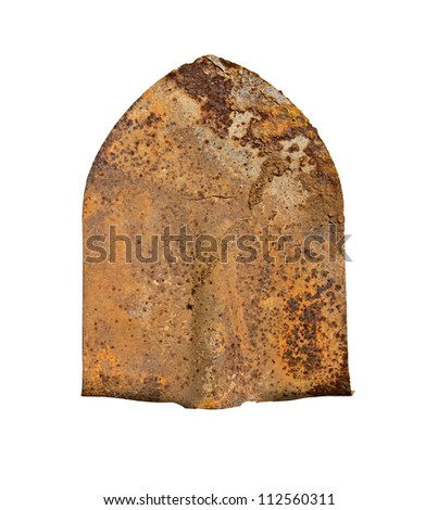 Old rusty shovel isolated on a white background