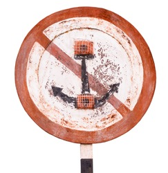 Old rusty sign for ships