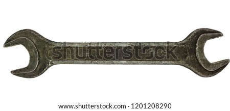 Old rusty spanner isolated on white background. wrench close up
