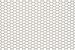 Old rusty steel chicken wire netting isolated on a white background.