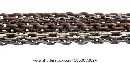 old rusty strong steel chains