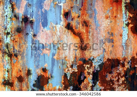 Old rusty surface, painted with old paint stains #346042586