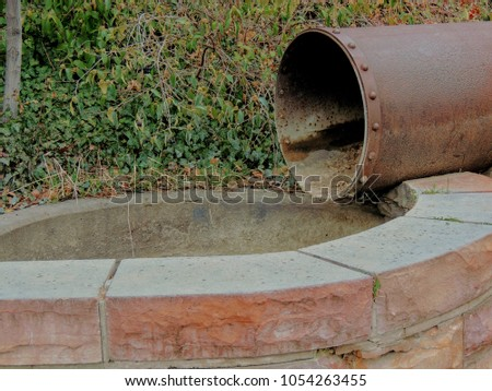 old rusty vintage drainage pipe ...