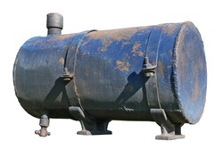 Old  rusty vintage metal steel  tank for diesel fuel from agricultural machinery   isolated on white. Outdoor sunny day shot