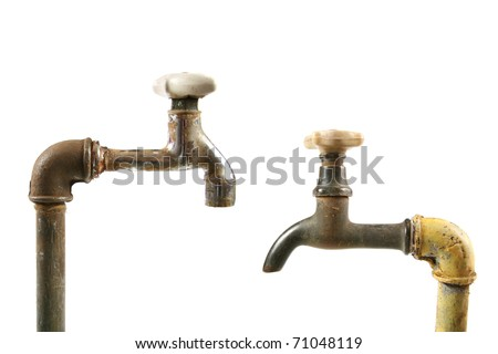 old rusty water taps