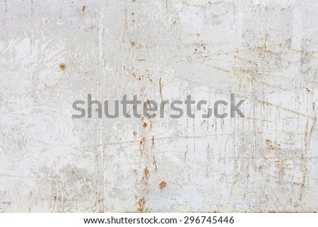 Old rusty white metal background.