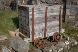 Old Rusty Wooden Mine Cart Outdoors