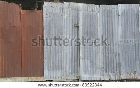 Old rusty zinc sheet wall