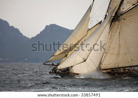 Old sail boat on the sea