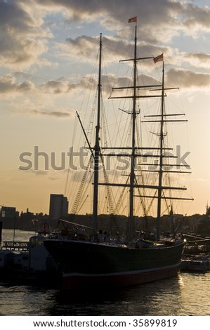 old sailing boat in the harbor of Hamburg