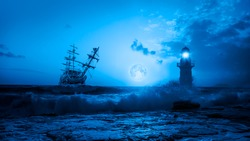 Old sailing ship at the stormy sea with lighthouse on the background full moon and foreground power sea wave