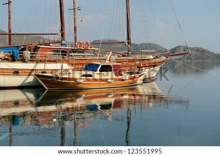 old sailing ship in the harbor of sea