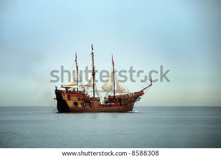 Old sailing ship in the ocean