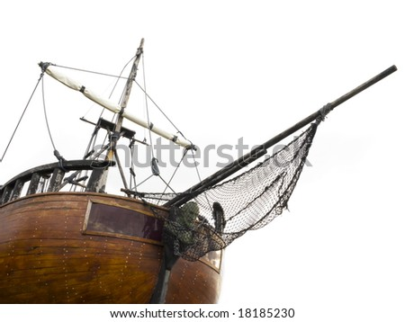 Old sailing ship isolated on white.