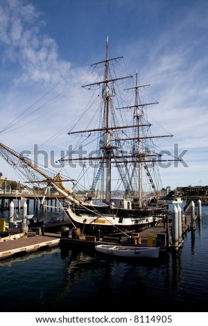 "old sailing ship named ""Pilgrim"" in ""Dana Point"" harbor"