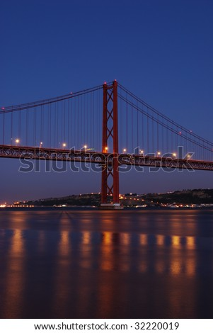 old Salazar bridge in Lisbon, Portugal (night shoot)
