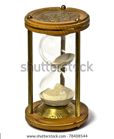 old sandglass  isolated on white background
