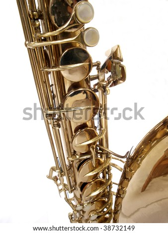 Old Saxophone from the 1930's.  Close up isolation.