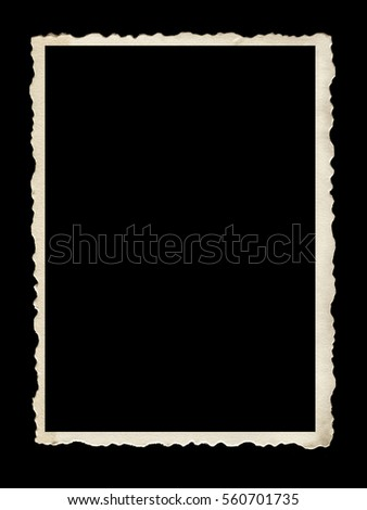 Old scalloped photo frame isolated on black background.