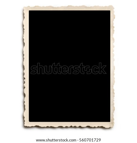 Old scalloped photo frame isolated on white with shadow.
