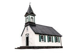 Old scandinavian church isolated on white. Thingvellir Church