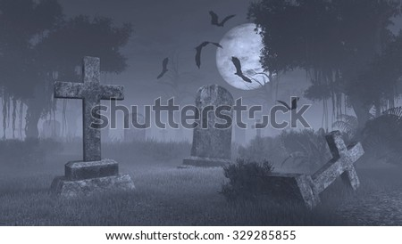 Old scary cemetery with decaing gravestones and bat silhouettes against big full moon. Monochromatic 3D illustration was done from my own 3D rendering file. Сток-фото ©